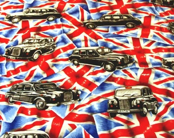 Patchwork Quilting Fabric Nutex Union Jack Taxi Cab