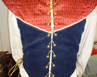 L red/navy doublet with side lace up