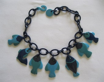 French Designed Resin Fish Necklace  By Marion Godart