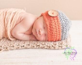 Cute Crochet Pumpkin & Grey Baby Boy Hat w Wood button, Photo Prop Beanie