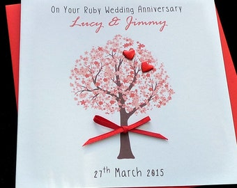 Ruby wedding Anniversary personalised card