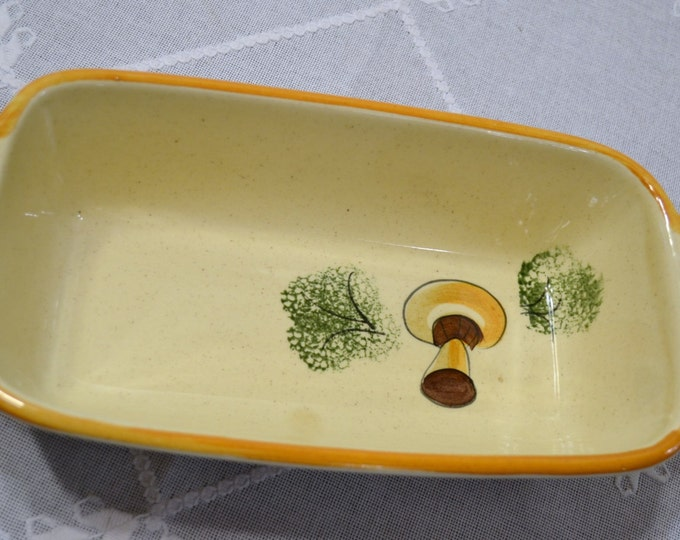 Vintage Los Angeles Potteries Loaf Baking Dish Pan Mushroom Design Hand Painted PanchosPorch