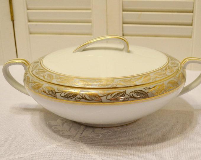 Vintage Noritake Greta 5272 Round Covered Serving Bowl White Gold Gray Leaf Design Discontinued Pattern PanchosPorch