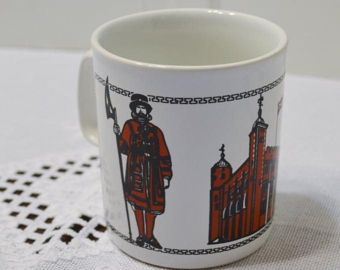 Vintage Kiln Craft Coffee Mug Department of Environment England Red Black White British Travel Souvenir PanchosPorch