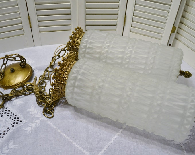 Hollywood Regency Hanging Light Double Cylinder White Satin Glass Gold Ornate Metal PanchosPorch
