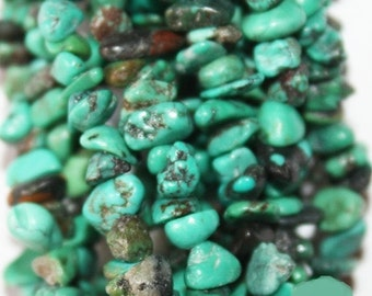 """Genuine (not dye) blue-green Turquoise chips,  beads approx. 5 - 7 mm,  long strand 36"""""""