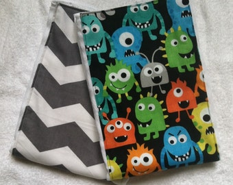 Little Monsters and Chevron Burp Cloth Set