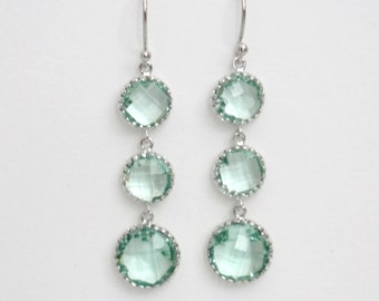 Mint Green Crystal Earrings - Crystal Drop Earrings - Mint Crystal Drop Earrings - Crystal Dangle Earrings - Bridesmaid Jewelry