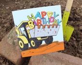 Digger Birthday Card,  Happy Birthday Greetings Card
