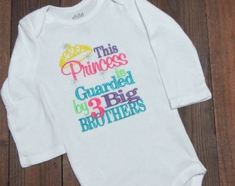This Princess is Guarded by Big Brothers Shirt - little sister princess shirt - Guarded my big brothers shirt