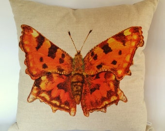 Orange Comma Butterfly Cushion Cover, British Butterflies, British Garden, Nature's creatures, butterflies and moths, handmade in the UK