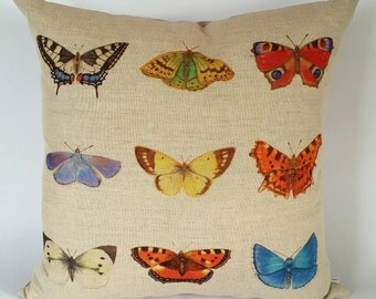 British Butterflies Cushion Cover, Butterfly Pillow, Summer Garden, butterfly home decor