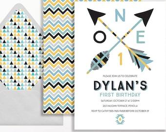 1st Birthday Invitation Boys Tribal Arrows Aztec Geometric Modern 2nd 3rd 4th 5th Black Grey Gray Arrow Mint Yellow Blue Printable First