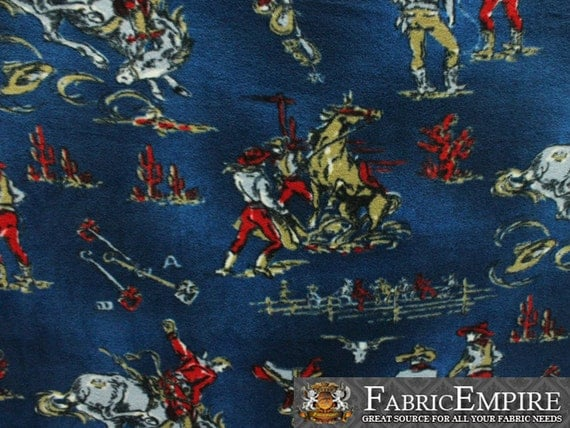 Fleece fabric printed anti pill rodeo champ sold by the yard n for Space fleece fabric