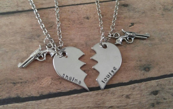 thelma and louise stamped best friend necklaces by