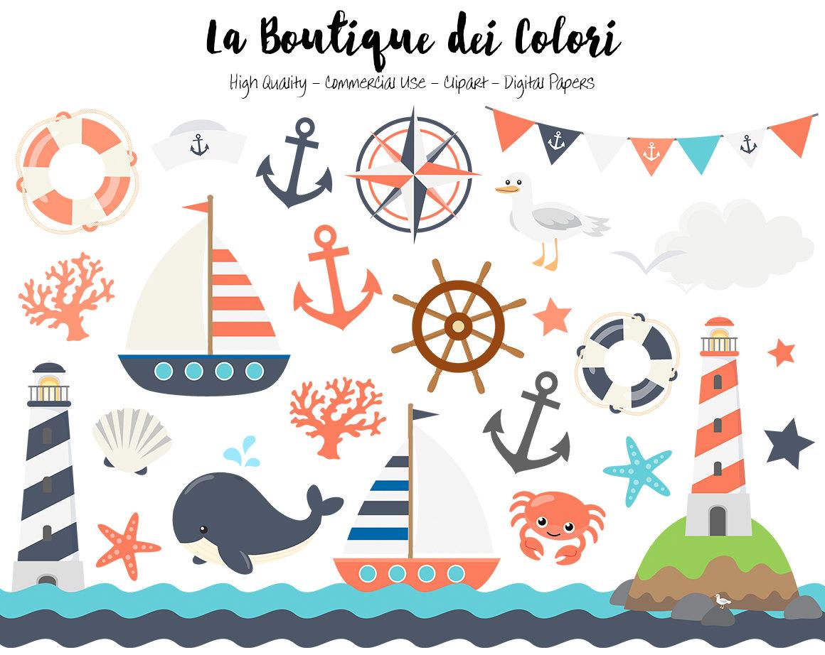 Vintage Nautical Clipart, Cute Vector Graphics, Sea ...