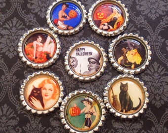 Vintage Pin Up Girl Halloween Magnet Set, Retro, Spooky, PinUp, Rockabilly, October, Novelty, Gift, Fall, Witch, Witchy, Pumpkins