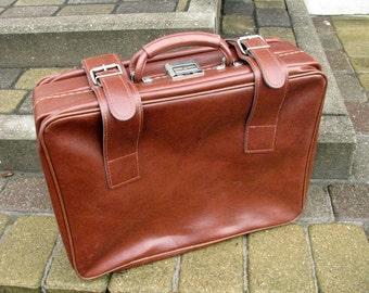 Swedish Vintage cognac brown leatherette luggage Suitcase faux vegan leather Hand baggage vegan leather portfolio faux leather suitcase