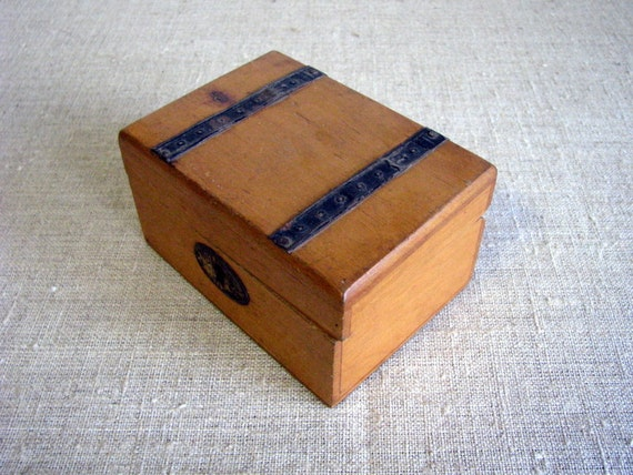 Antique soviet wooden saving bank wood case by for Handmade coin bank