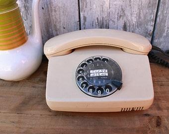 vintage rotary telephone cream beige 80s