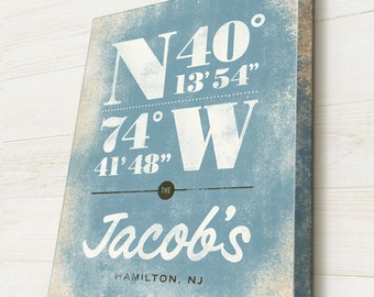 Beach House Gift, GPS Coordinates Sign, Personalized Latitude and Longitude Location Beach House Sign, Custom Canvas Typography