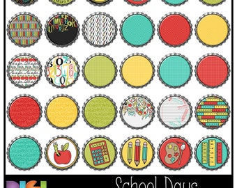50% OFF School Days ~ 30 Digital Bottle Caps PNG Clipart, Digital, Scrapbooking, Card making, Bottle Caps, School Theme. Instant Download.