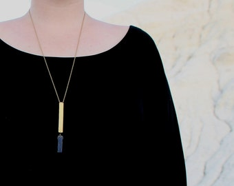 ON SALE - Geometric Lapis Necklace - Blue Lapis Lazuli stone/Hammered brass rectangle/Brass chain