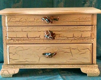 Vintage Upcycled Cottage Chic Jewelry Box