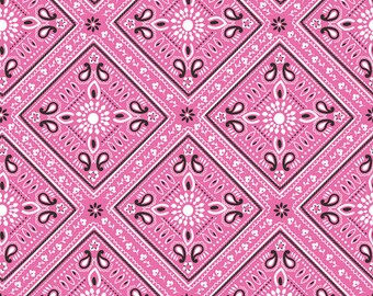 Half Yard Luckie - Bandana in Pink - Cotton Quilt Fabric - by Maude Asbury for Blend Fabrics - 101.115.07.3 (W3465)