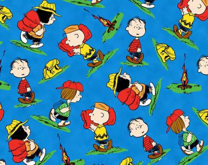 Half Yard Camp Peanuts - Character Toss in Royal Blue - Charlie Brown Cotton Quilt Fabric - Quilting Treasures - 22530-Y (W3147)