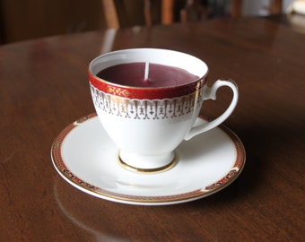 Mismatched teacup candle, Royal Grafton Majestic design cup filled with burgundy wax, St Michael Connaught design saucer, birthday christmas