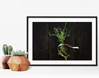 thyme // food photography print // kitchen decor // dining room // minimalist art print // rustic farmhouse wall art