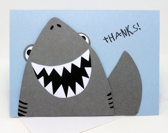 Thank You Shark Layered Paper Cut Greeting Card