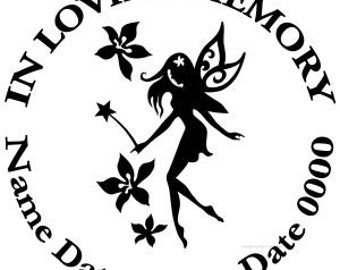 In Loving Memory Round Dancing Fairy Flowers Vinyl Decal Sticker