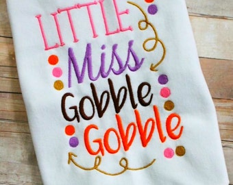 Instant Download: Little Miss Gobble Gobble Embroidery Design
