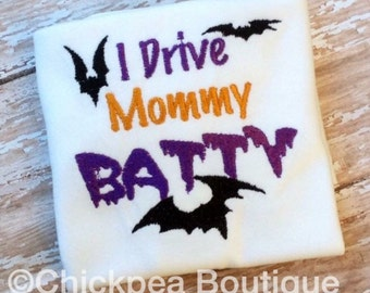 Instant Download: I Drive Mommy Batty Halloween Embroidery Design