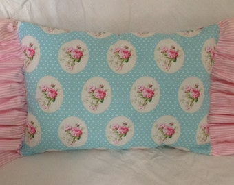 Cushion fabric roses, Tanya Whelan. Romantic pillow. Rose