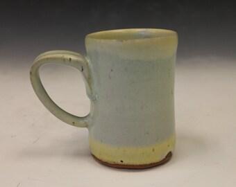 Blue and yellow matte coffee mug