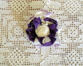 Fabric Flower Brooch  From  Purple Vintage Handkerchiefs