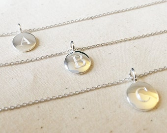 """Initial Necklace""""SILVER"""", Sterling Silver Necklace, Initial Disc Necklace, Custom Necklace"""