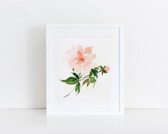 Botanical, watercolor art print, rose
