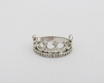 Vintage Sterling Silver White Topaz Crown Band Ring Size 9