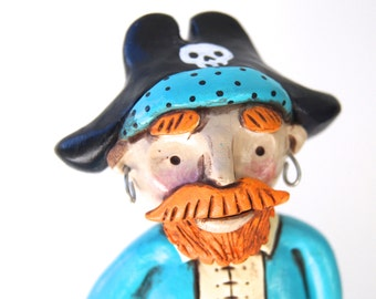 SALE Pirate in Turquoise and Orange folk art sculpture