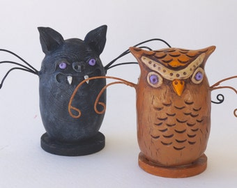 Set of TWO folk art sculptures Bat and Owl