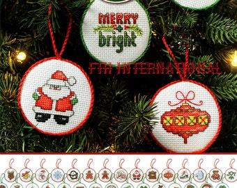 Bucilla 30 Piece MIni Christmas Ornaments Counted Cross Stitch Kit #86672 DIY