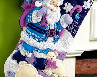 "Bucilla Arctic Santa ~ 18"" Felt Christmas Stocking Kit #86653 DIY"