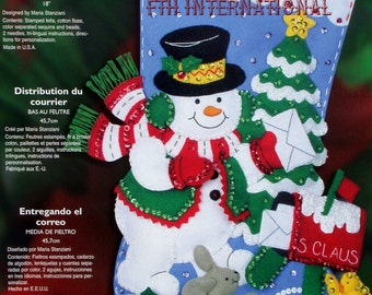 "Bucilla Delivering Mail ~ 18"" Felt Christmas Stocking Kit #85178 Frosty, Snowman DIY"