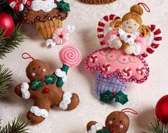 Bucilla Cupcake Angel ~ 6 pce. Felt Christmas Ornament Kit #86242, Gingerbread DIY