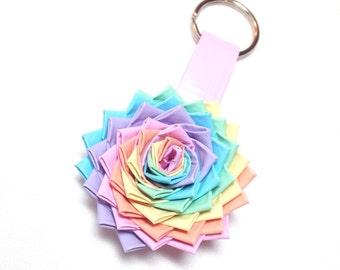 Duck Tape Flower Keychain - Pastel Rainbow