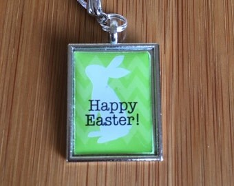 Green Easter Bunny Plate Charm/Dangle